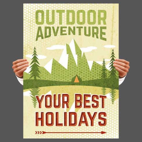 Cartel de turismo de aventura al aire libre.
