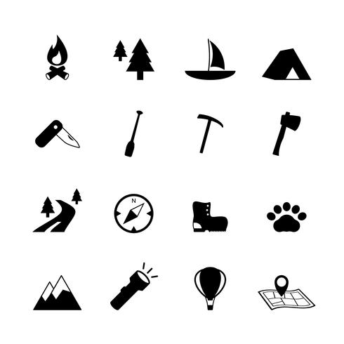 Outdoors tourism camping pictograms