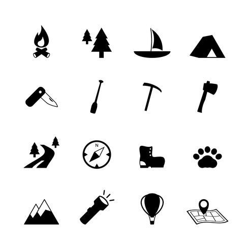 Im Freien kampierende Piktogramme des Tourismus vektor