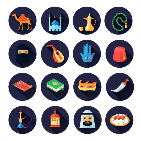 Icona della cultura araba piatta vettore