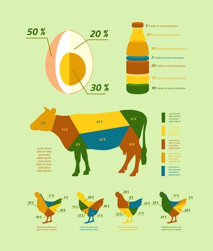 Elementos de design plano de infográficos de agricultura natural