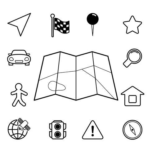 Conjunto de ícones de navegação, plano de contorno