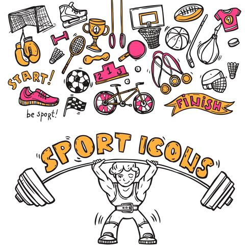 Sport icons doodle sketch vector