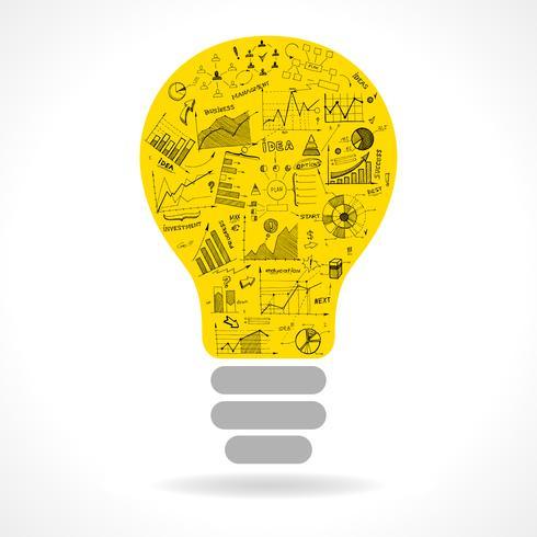 Icône d'ampoule idée Doodle avec graphiques infographie