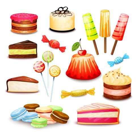 Conjunto de alimentos dulces