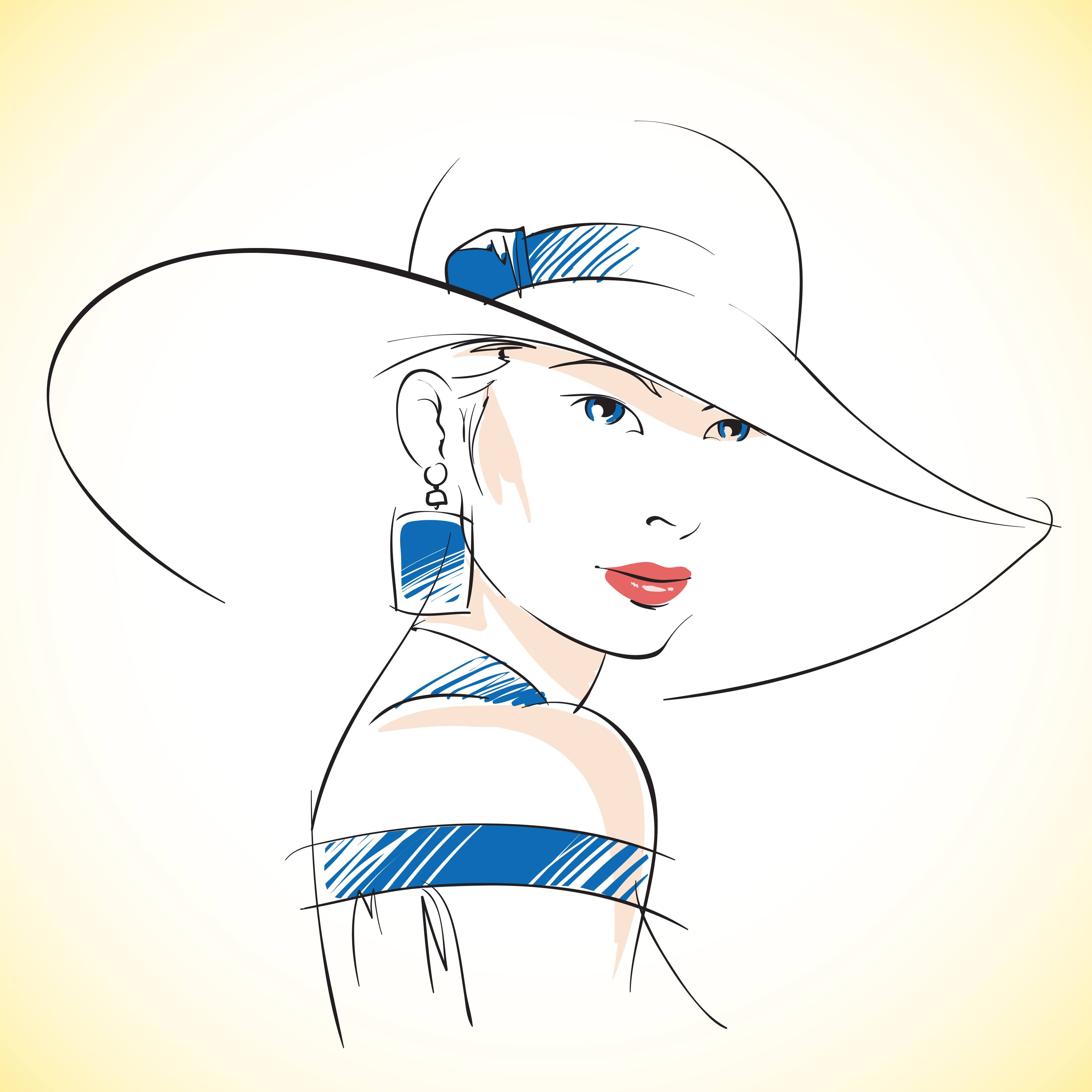 Fashion Sketch Of Beautiful Young Female 428986 Vector Art