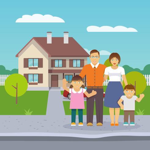 Casa de familia plana vector