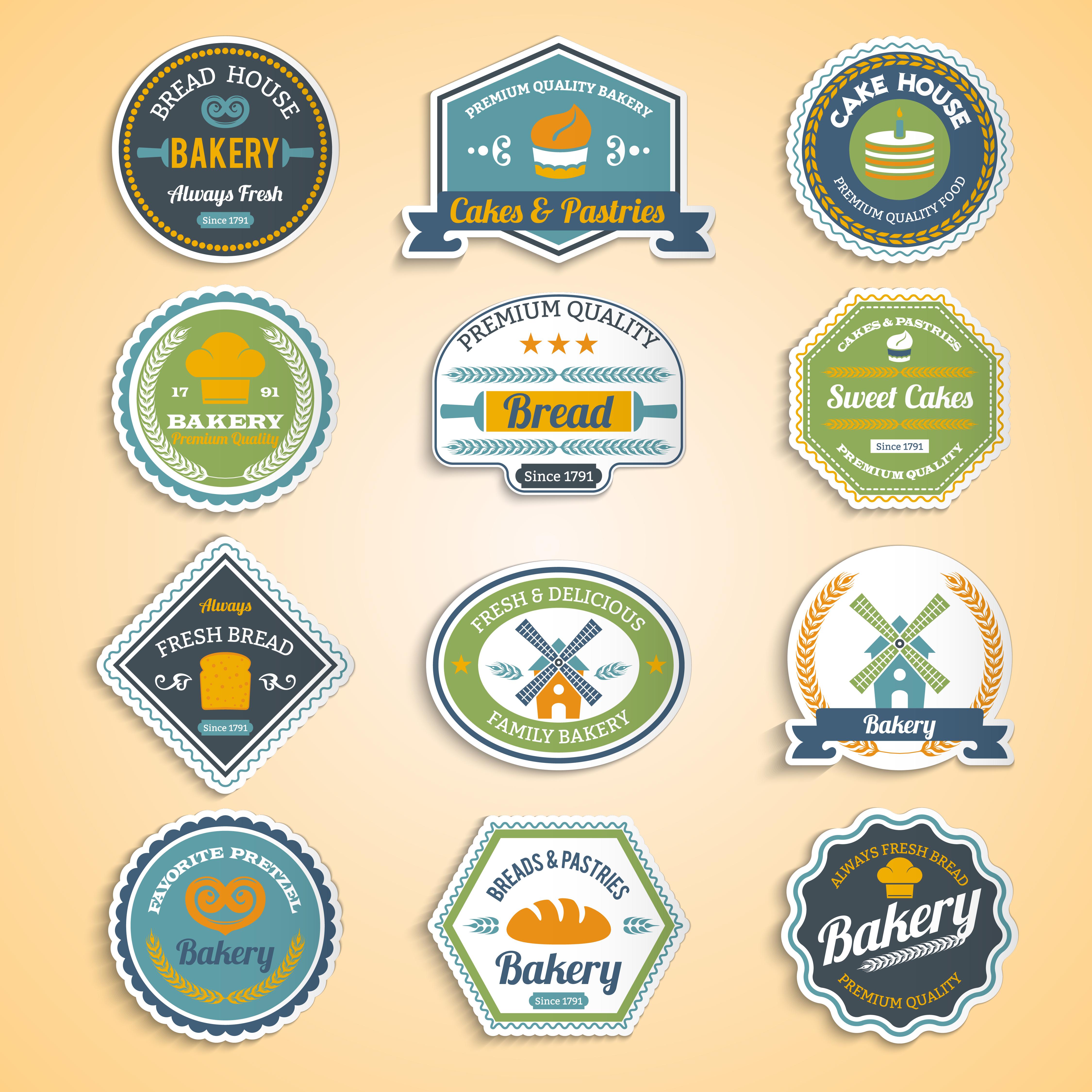 Bakery Logo Emblem Set:  Bakery Stickers Set