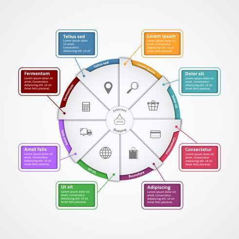 Internet-Shopping-Papier Infografiken Vorlage