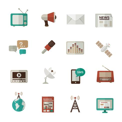 Media Icons Flat vector
