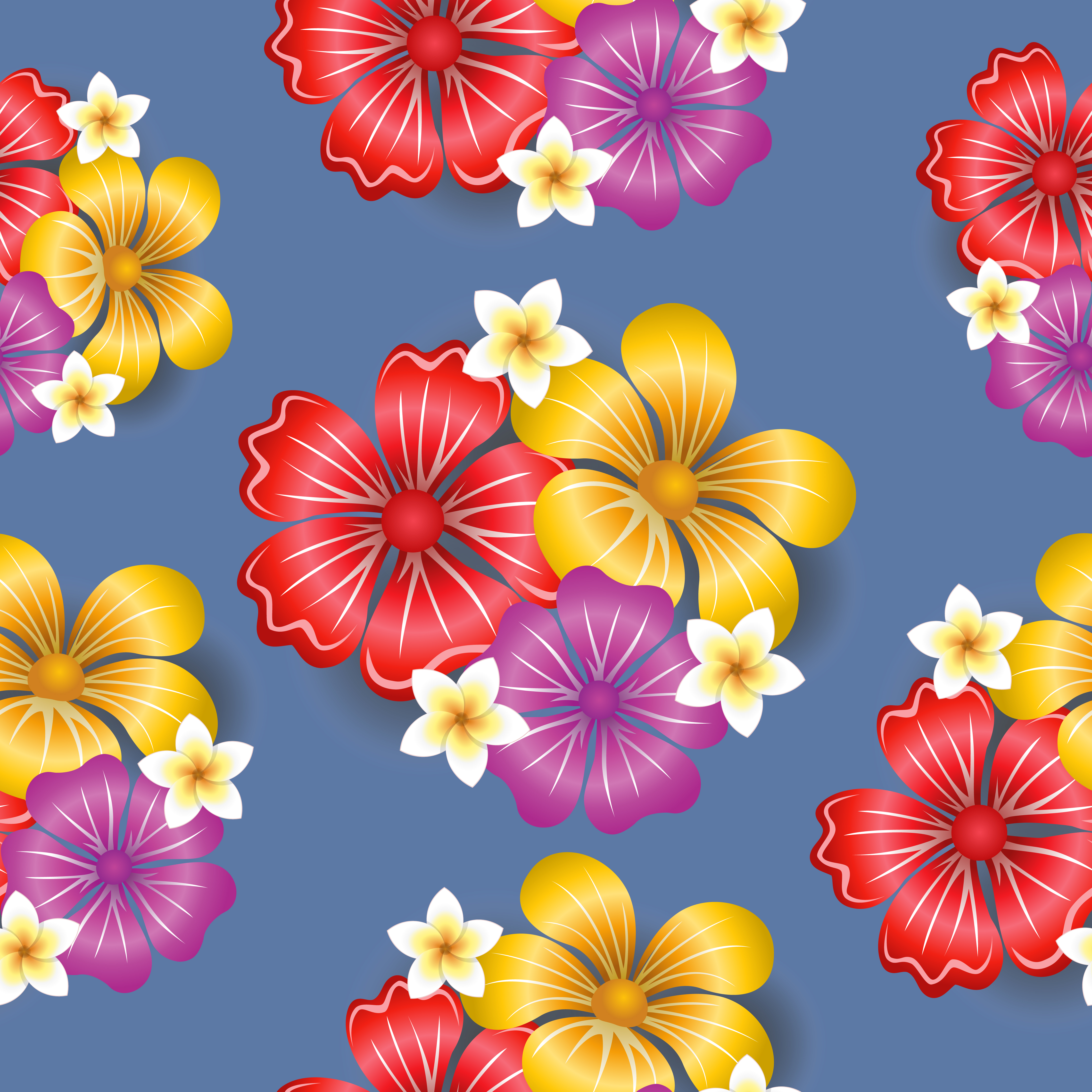 Tropical flowers seamless pattern background - Download ...