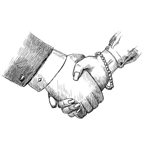Business handshake man and woman vector