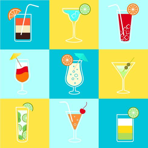 cocktails party icons set vektor