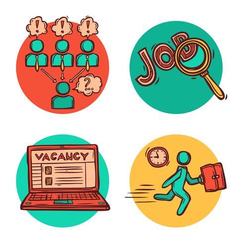 Composición de los iconos de concepto de negocio de trabajo
