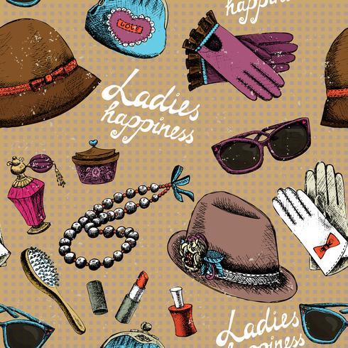 Kvinnor mönster med handskar glasögon hatt parfym och annat tillbehör vektor