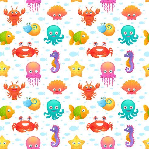 Padrão sem emenda de animais do mar bonito