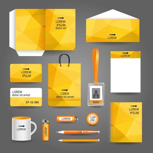 Modelo de papelaria de negócios tecnologia amarelo geométrico