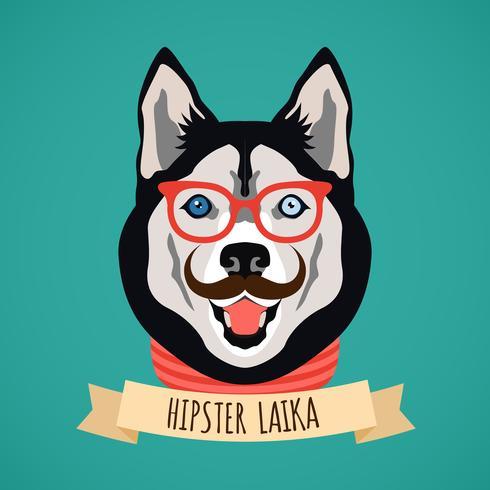 Hipster hundporträtt vektor