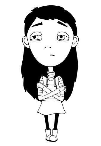 Sulky meisje met vlecht en grote ogen niet glimlachen