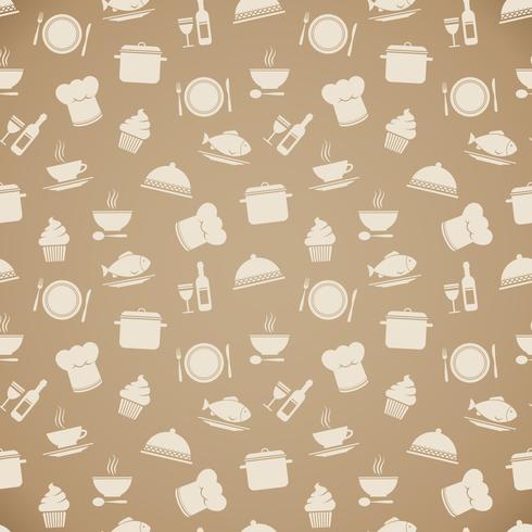 Sömlös restaurang meny mönster bakgrund vektor