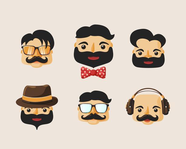 Pack de personajes hipster con emociones faciales. vector