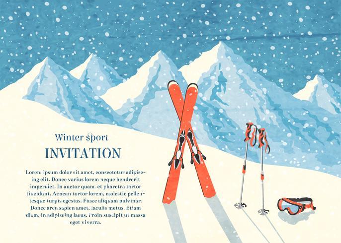 Ski winter mountain landscape card vector