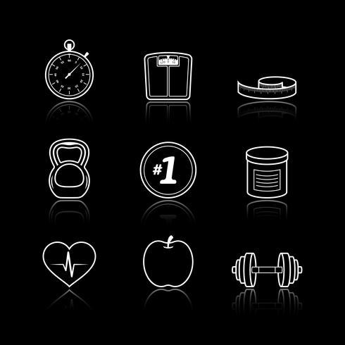 Fitness sport wellness hälso-och sjukvård ikoner uppsättning