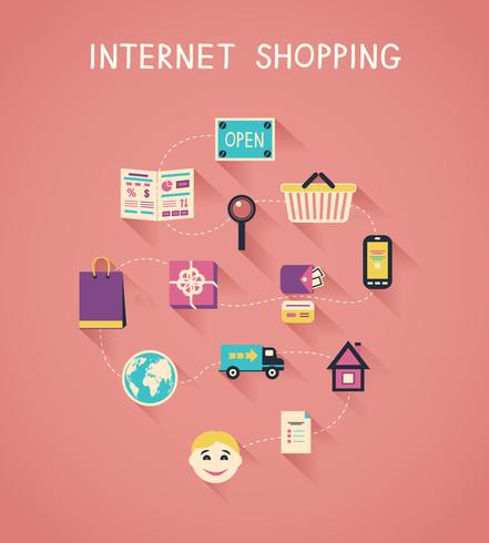 Marketing en internet y infografías de compras online. vector