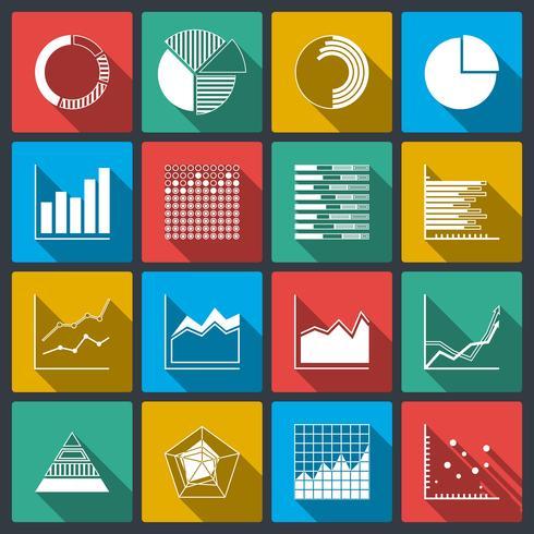 Ícones de negócios de gráficos de classificações e gráficos