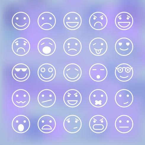 Conjunto de ícones de carinhas para interface de aplicativo móvel vetor