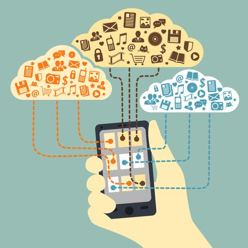 Mão, segurando, smartphone, conectado, para, nuvem, serviços