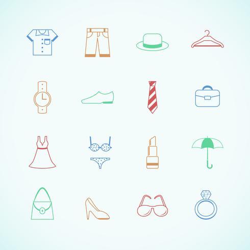 Kledingtoebehoren pictogrammen