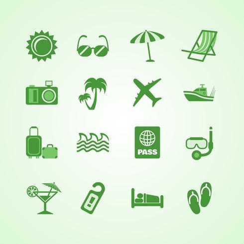 Conjunto de iconos de vacaciones viajes verde
