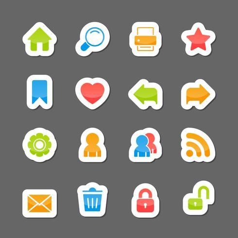Website-lay-outinterface-elementen op cartoon stickers