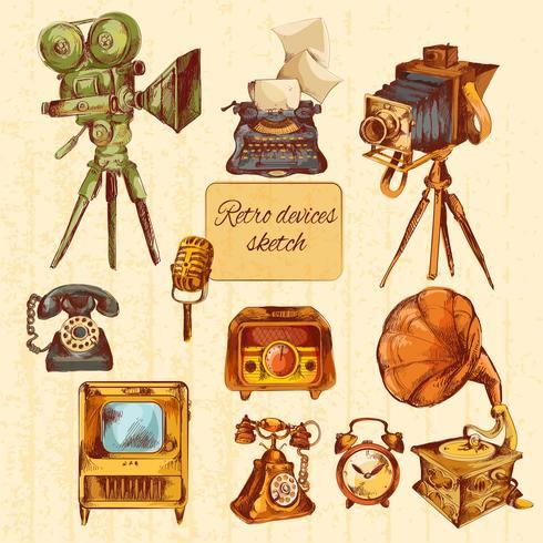 Retro Devices Sketch Colored vector