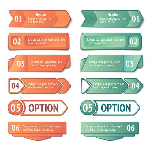 Conjunto de banners de opções e títulos de infográficos