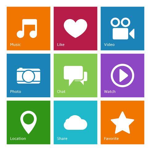 Elementos de la interfaz de usuario de las redes sociales.