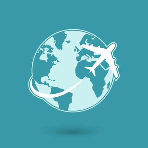 Wereldwijd vliegtuig reizen netwerkpictogram
