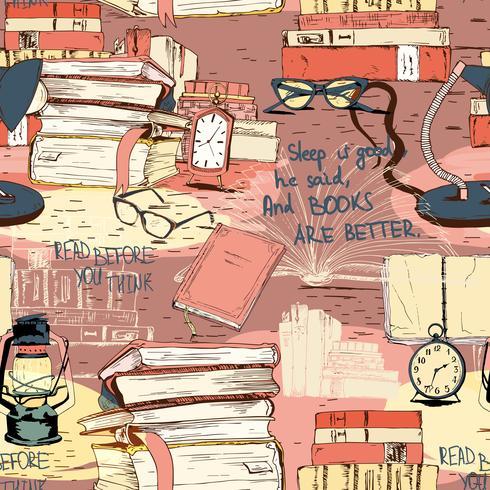 Libri che leggono sfondo senza soluzione di continuità vettore