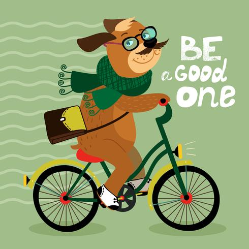 Hipster poster with nerd dog vector