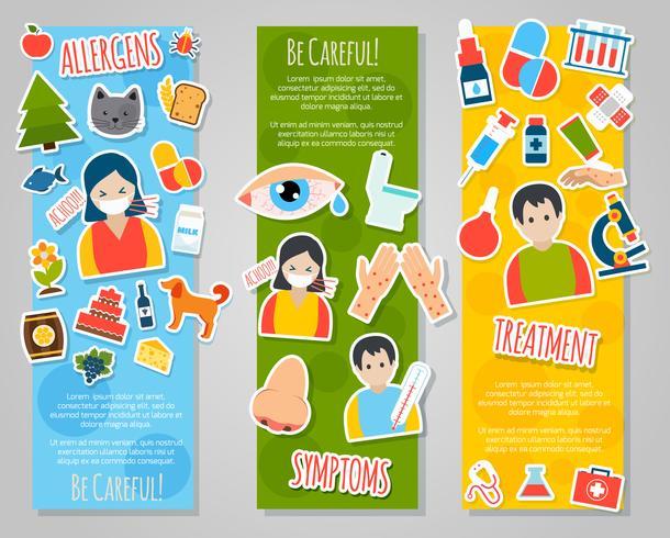 Conjunto de banners de alergias vector