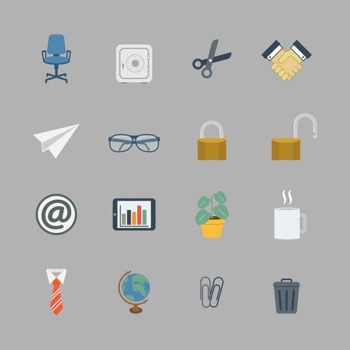 Coleção de negócios de material de escritório plana
