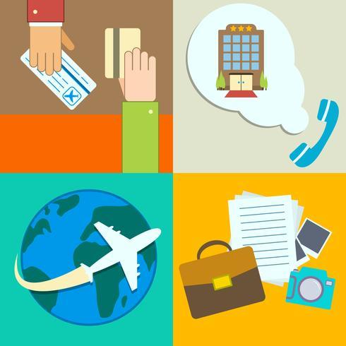 Set di icone di infographics di viaggio d'affari