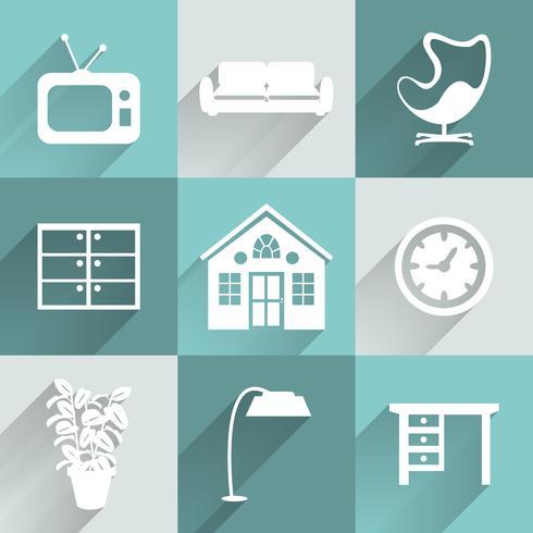 Conjunto de iconos de muebles de interior vector