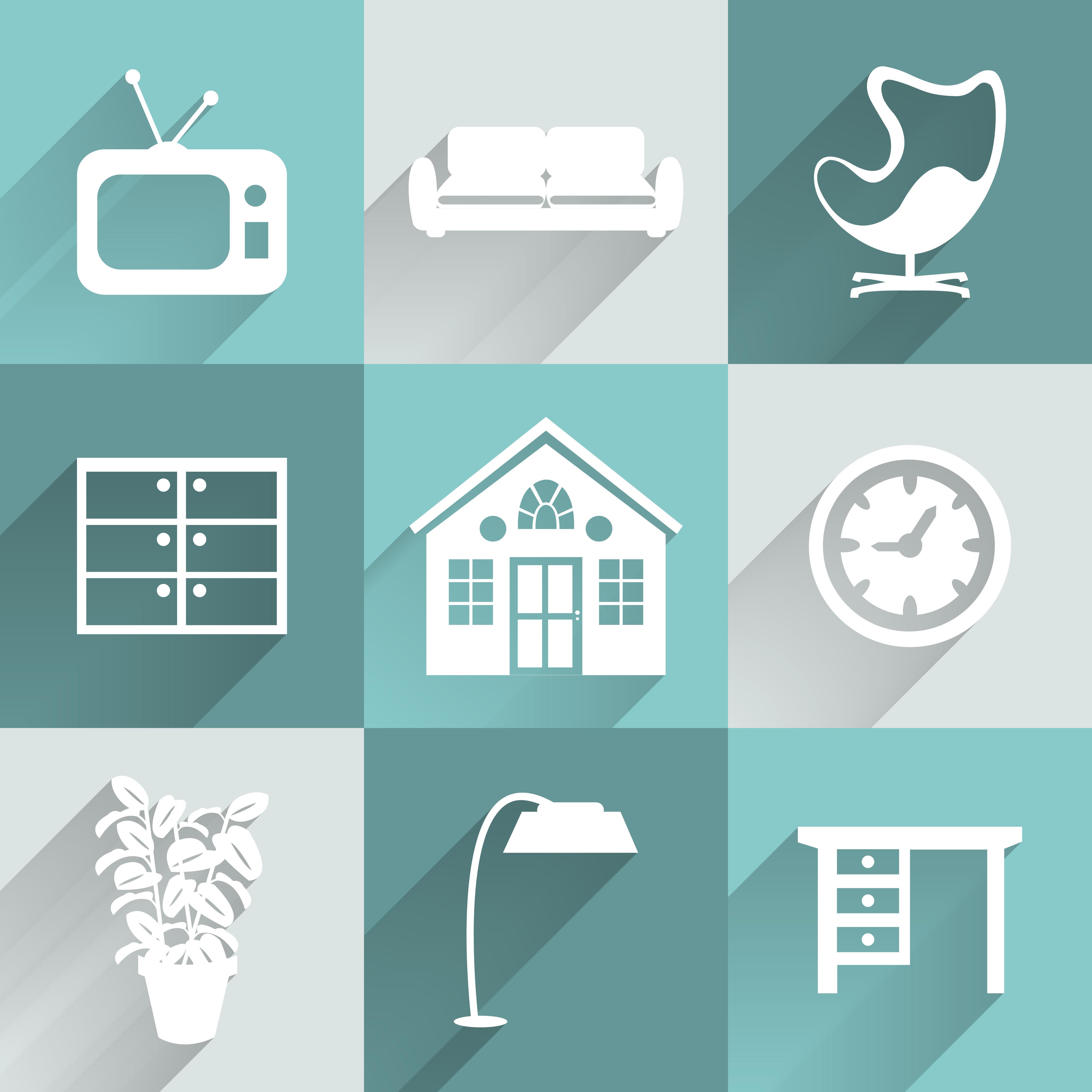Interior Design Free Icons: Interior Furniture Icons Set