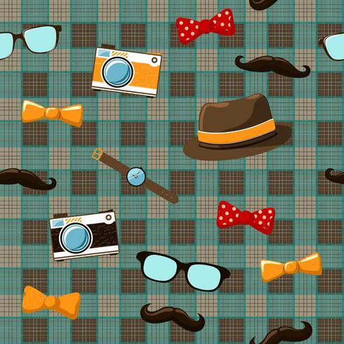 Artículos de hipster en mantel inconsútil vector