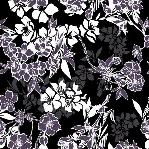 Nahtloses Muster mit blühender Kirsche oder Kirschblüte