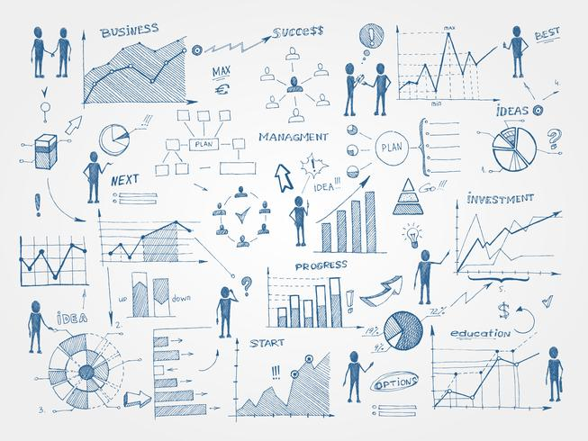 Doodle elementi di infografica di gestione aziendale