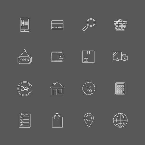 Contour internet shopping icons set vector