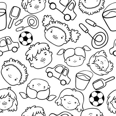 Doodle modello di volti di bambini